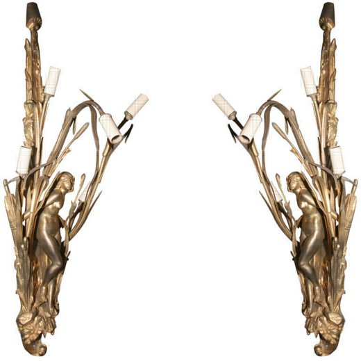 Pair Art Nouveau Gilt Bronze Figural Sconces, signed