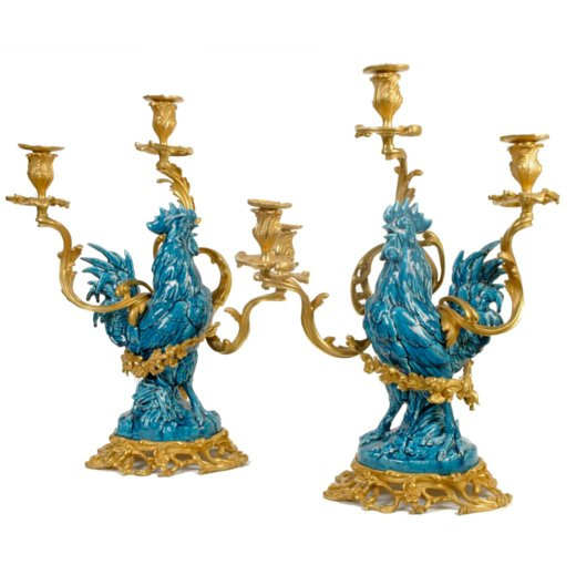 Pair of Very Unusual 19th C French Louis XVI Style Bronze Dore and Porcelain Rooster Candelabras